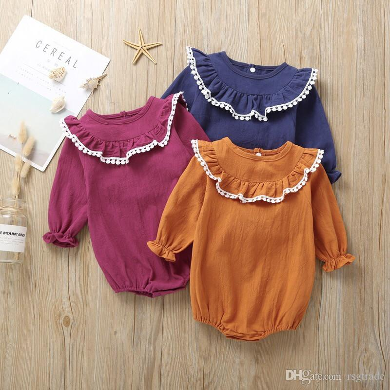 3 Colors Fall INS New Baby Infant Girls Rompers Lace Ball Turn-down Collar Long Sleeve Thin Organic Cotton Newborn Girls Jumpsuits 0-24M