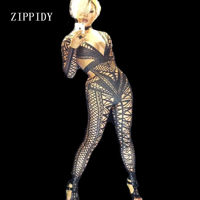 Sexy White Black Nude Jumpsuit Costume One-piece Nightclub Dance Bandage Pattern Outfit Party Singer Stage Performance Wear