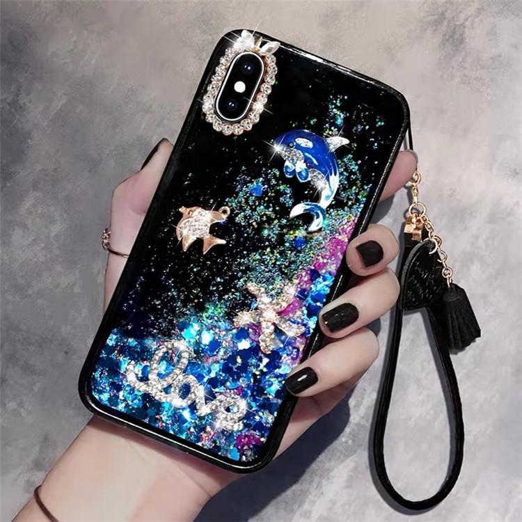 3D diamant dauphins liquide Quicksand couverture téléphone cas long bracelet bracelet lanière gland Shell pour iPhone X 7 6s
