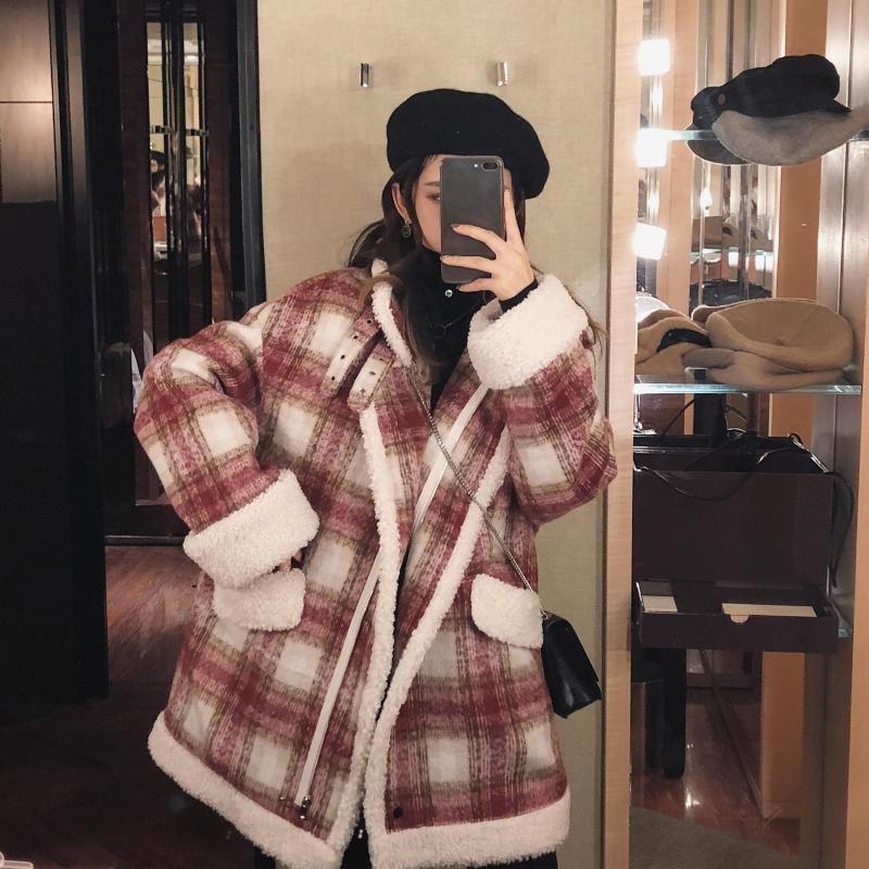 FMFSSOM 2019 Automne Hiver Rouge Plaid Manteau en laine nouvelle mode causales femmes épais manteau col rabattu