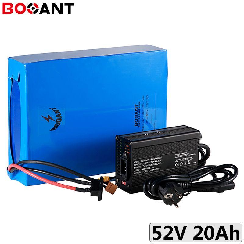 52V 20Ah 750W bateria 18650 14S 51.8V 1000W bateria de lítio bicicleta elétrica para o motor 48V 500W UE EUA para impostos / costumes