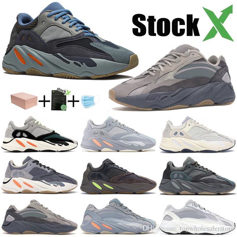 Nuovo Carbon Teal blu Magnete corridore dell'onda 700 uomini donne scarpe arancione Kanye West Scarpe da corsa 700 Solid Sneakers stilista grigio Magnet Inertia