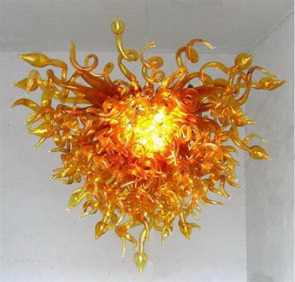 Blown frete grátis Wholesale Mão Pingente de vidro Lâmpadas Hotel Decor AC 110V 220V lâmpadas LED Lustres luzes