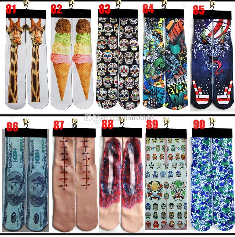 Calzini 3D 500 Design Bambini Donne Uomo Hip Hop 3D Calzini 3D Cotone Skateboard Skateboard stampato 100pcs = 50Pairs