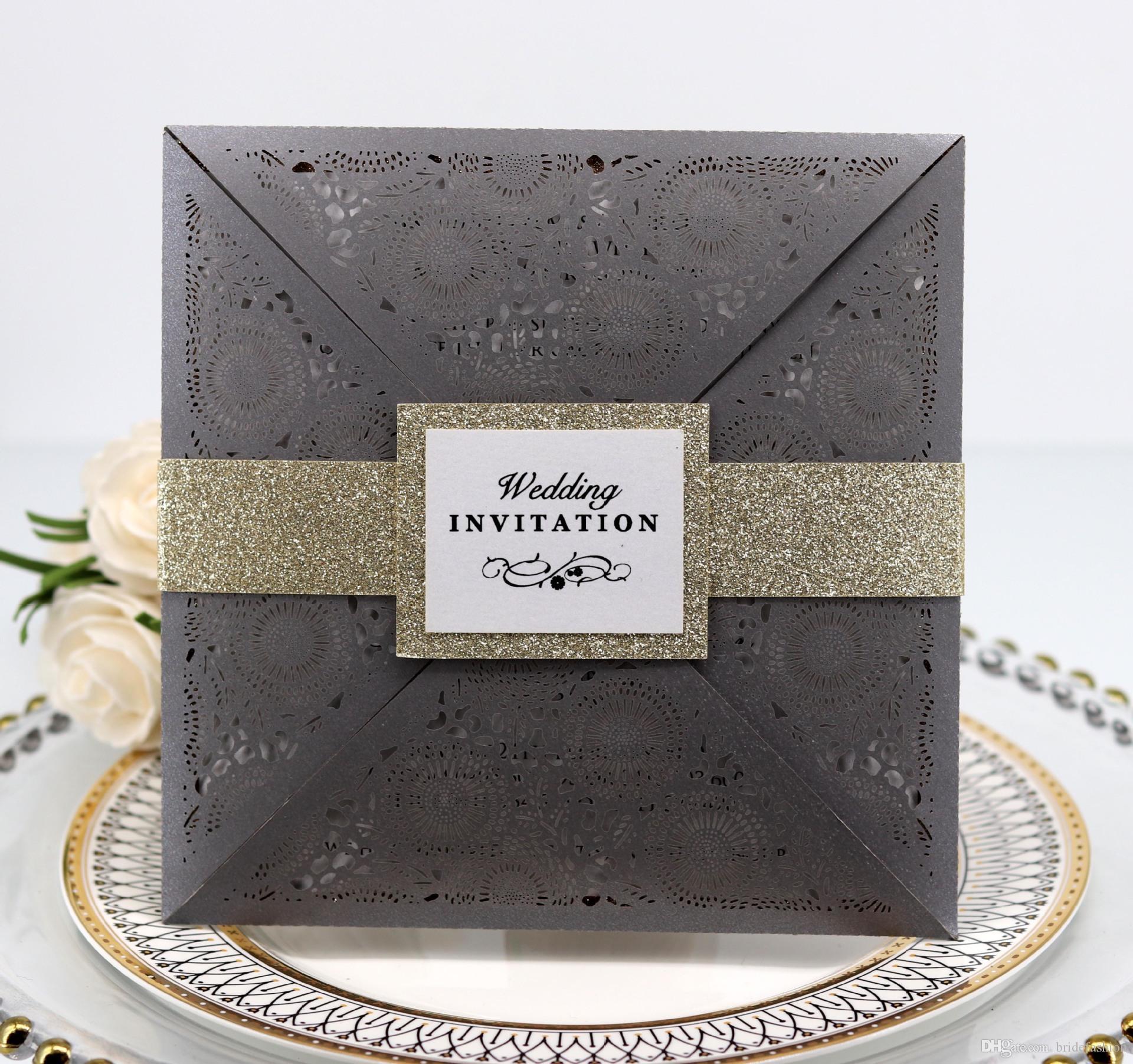 2019 Novos Convites De Casamento De Papel Em Branco Folha Interna Corte A Laser De Casamento Convite Flores Oco Cartões de Casamento Convite de Noivado