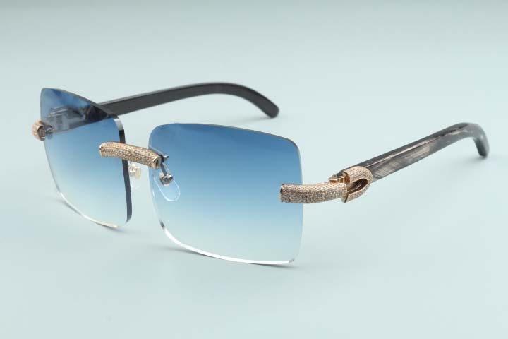 2020 New grande praça óculos de sol cheio de diamantes Óculos T3524012A Luxo Quadro Boundless Natural preto texturizado Corno
