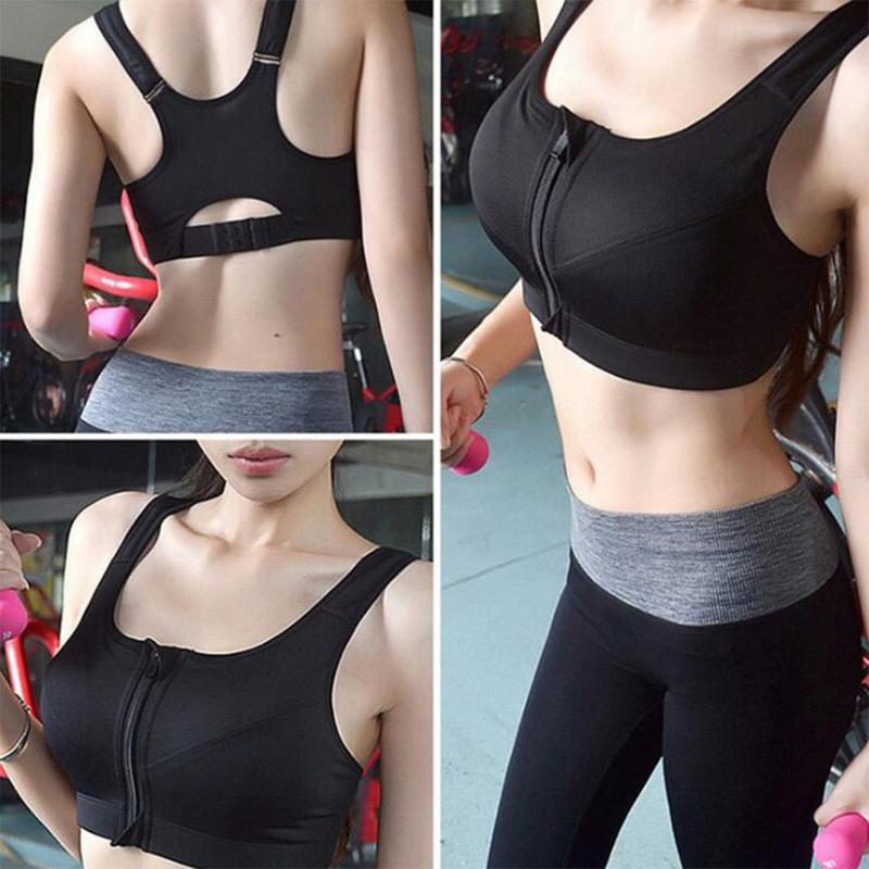 Women/'s High Impact Front Zip Wireless Padded Cup Tank Top Gym Active Sports Bra