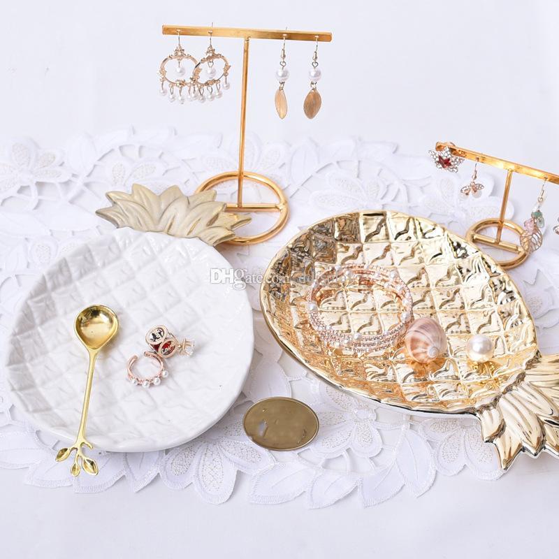 [DDisplay] Porzellan Gold Ananas Schmuck Platte Personalisierte Armband Organizer Fach Kleine Mädchen Halskette Glamour Ohrringe Display Halter