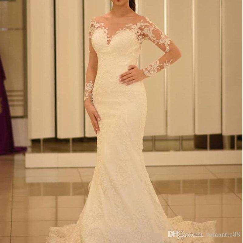 2019 새로운 인어 웨딩 드레스 환상 긴 소매 신부 가운 덮여 버튼 Vestido de Noiva 스윕 열차 우아한 신부 드레스