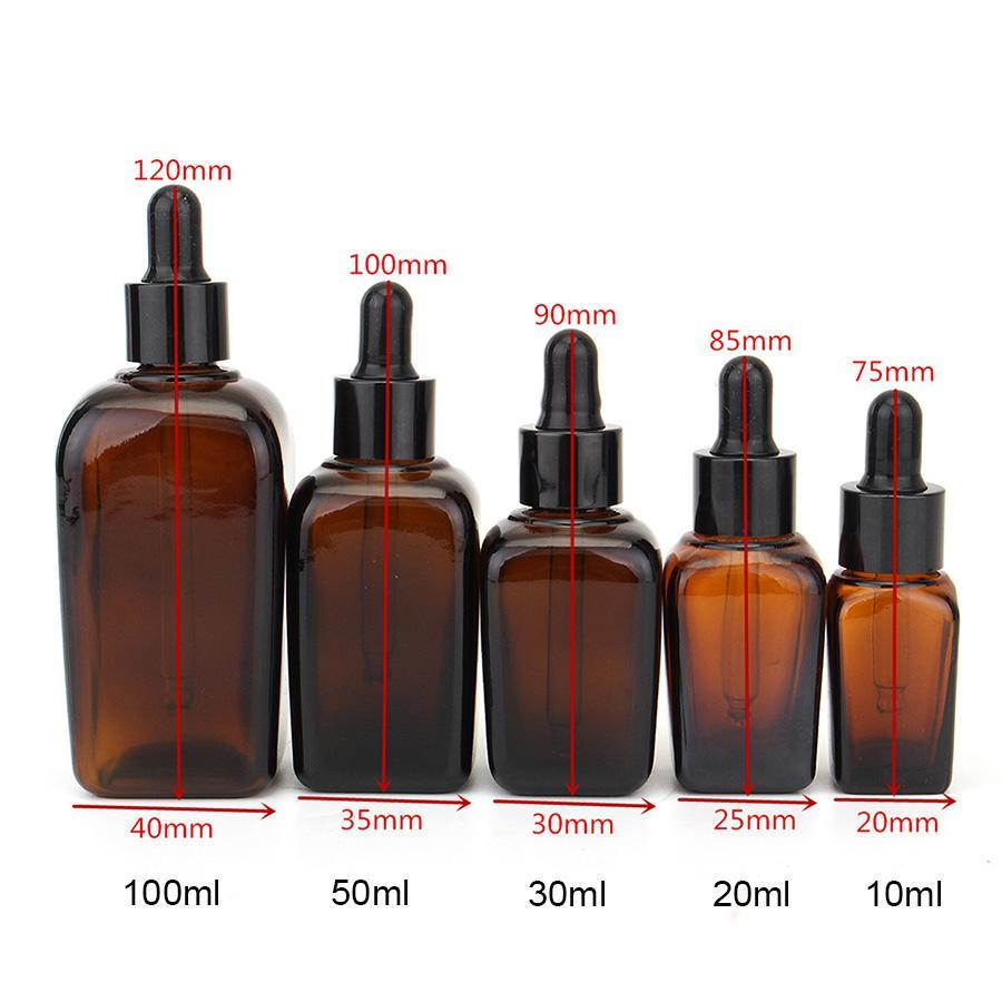 Square Glass Dropper Bottle With Eye Pipette Empty Amber Aromatherapy Essential Oils Bottle Containers 10/20/30/50/100ml