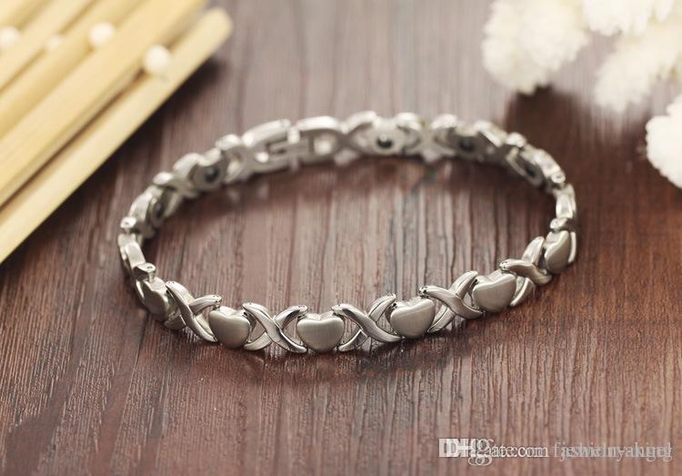 Marca nueva muestra gratis * (cadena de pulseras / cadenas) pulsera de acero inoxidable 316L de la mujer regalo de San Valentín día con células magnéticas ZY82 piedra