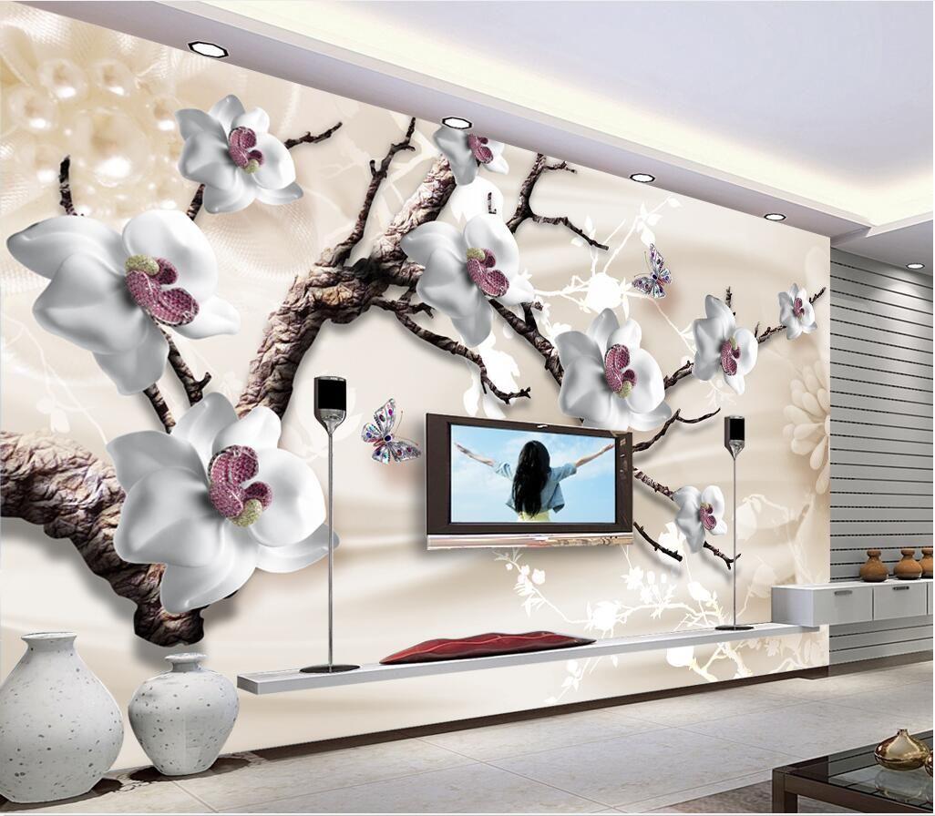 WDBH foto personalizada 3d papel tapiz de lujo joyería flor tv fondo pintura sala de estar decoración del hogar 3d murales de pared papel tapiz para paredes 3 d