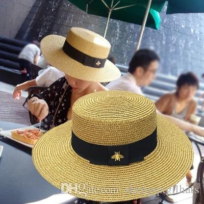 Luxury Designer Sun Hats Small Bee Straw Hat European and American Retro Gold Braided Hat Female Loose Sunscreen Flat Cap Visors Hats
