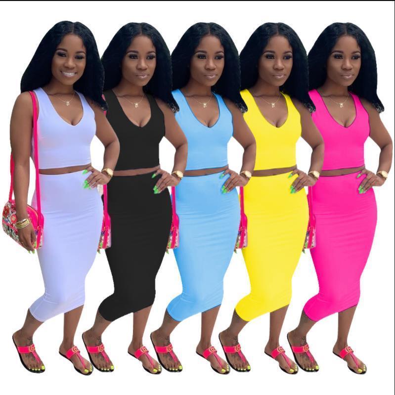 2019 yeni bayan yaz katı depo üst BODYCON midi etekler iki parçalı set kulüp parti kadın eşofman kıyafeti elbise D9120 Y200512 uyacak