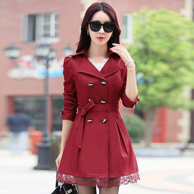 Women's Winter Trench Coats 2018 Autumn Female Fashion Overcoats Lady Turn-down Collar Sashes Bow Tie Lace Slim Elegant Outwears