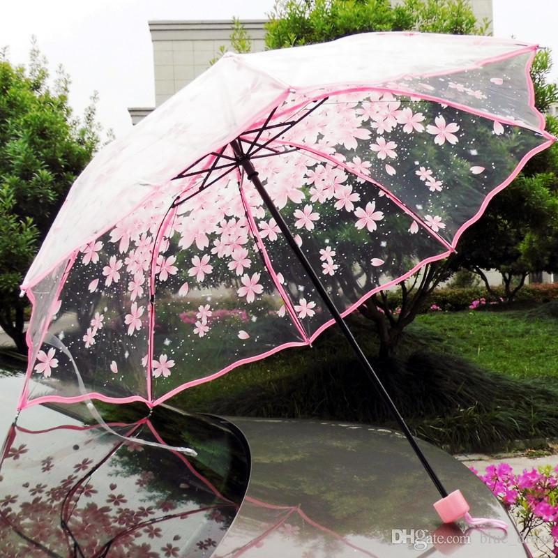 envío bella flor del ciruelo paraguas transparente del paraguas burbuja transparente Decoración de la boda de la alta calidad 2020