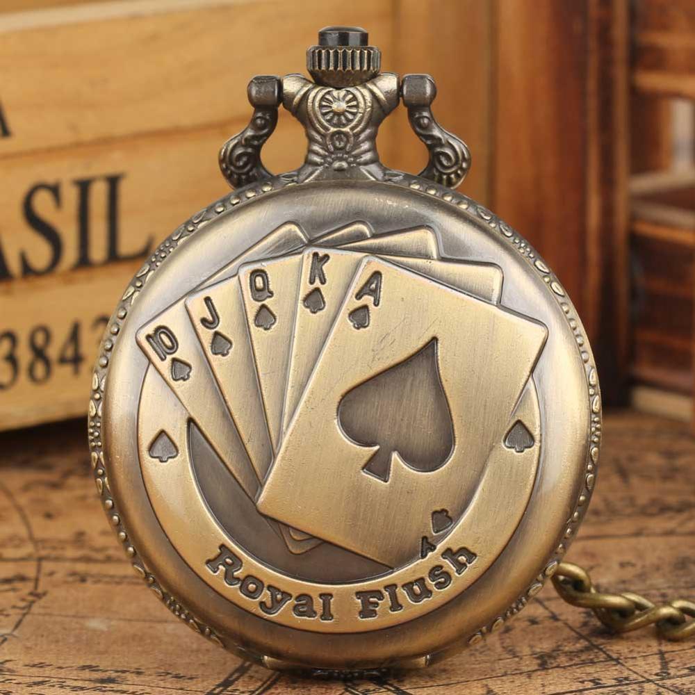 خمر الرجعية البرونزية الملكي فلوش كوارتز قلادة فوب الجيب ووتش مع قلادة سلسلة هدية الساخن بيع ساعة للرجال النساء