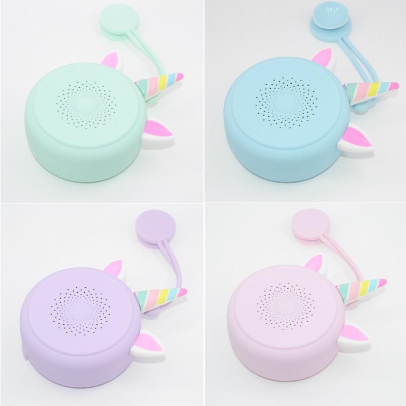 الكرتون سماعات بلوتوث صغيرة محمولة المصاص مضخم هدية الحبل لطيف للماء Q11 يونيكورن الصوت التوصيل المجاني