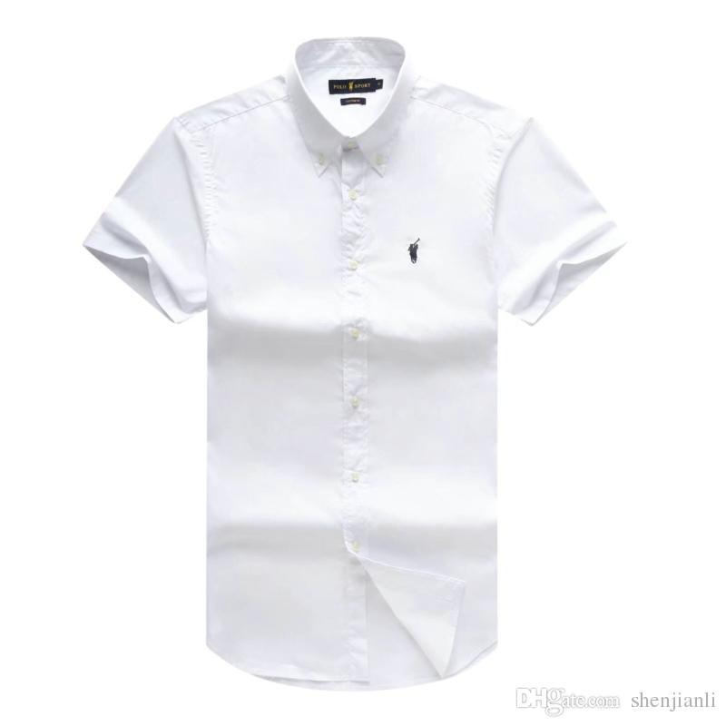 2019 الربيع والصيف الجديدة للرجال قصيرة الأكمام قميص القطن قميص الرجال بولو عارضة قوي اللباس الرجال قميص أزياء الشحن المجاني