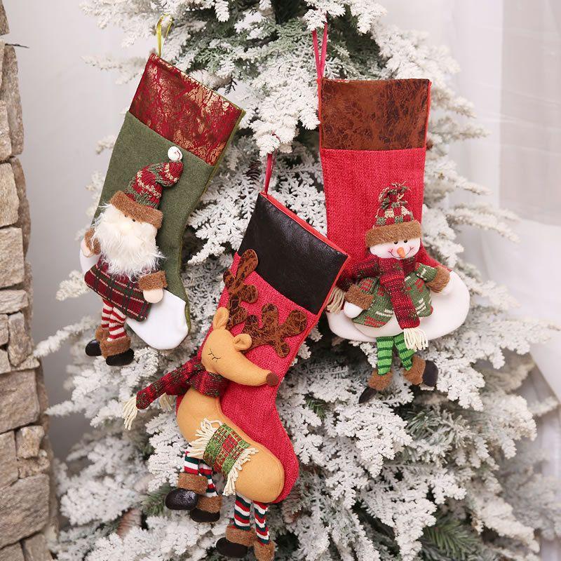 Arbre mignon mignon Père Noël Cadeau de Noël Lèche Mall Pendant Stocking Candy Bag cadeau