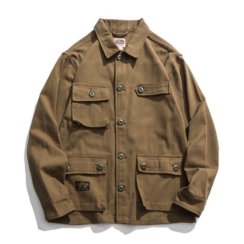 남성 재킷 남성 멀티 포켓 빈티지 사파리 스타일의 재킷 코트 봄 미국의 캐주얼 레트로 수트 자켓 남성 자켓