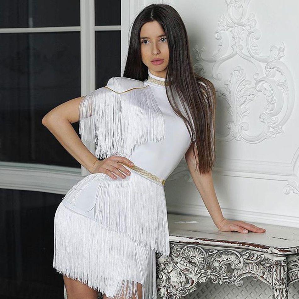 commercio all'ingrosso 2018 nuove donne di estate celebrità pista da sera vestito da partito sexy rosso bianco frangia nappe manica corta club dress abiti