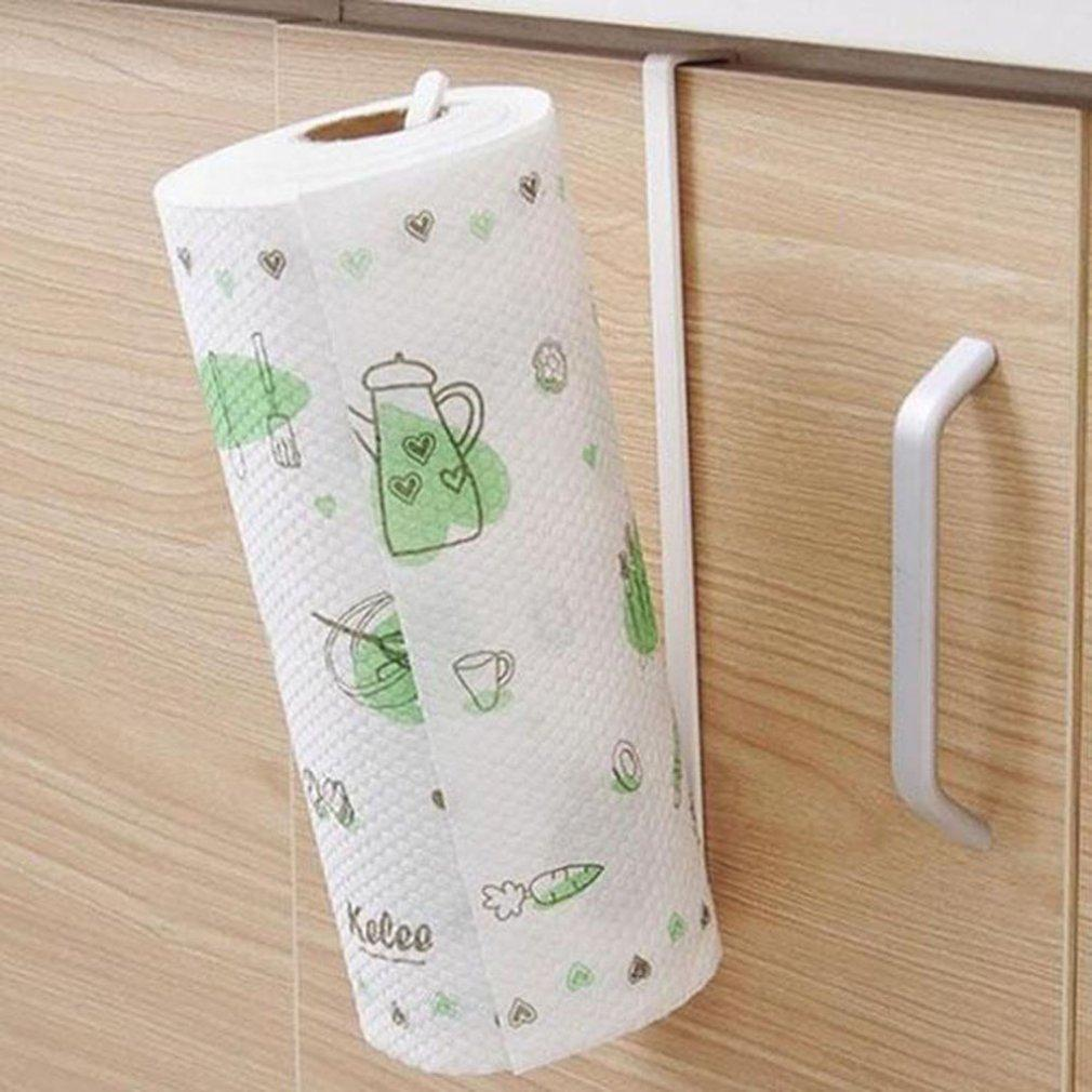 Door Cabinet Hanging Paper Towel Rack Free Punching Wrought Iron Cabinet Partition Layer Storage Rack Roll Holder