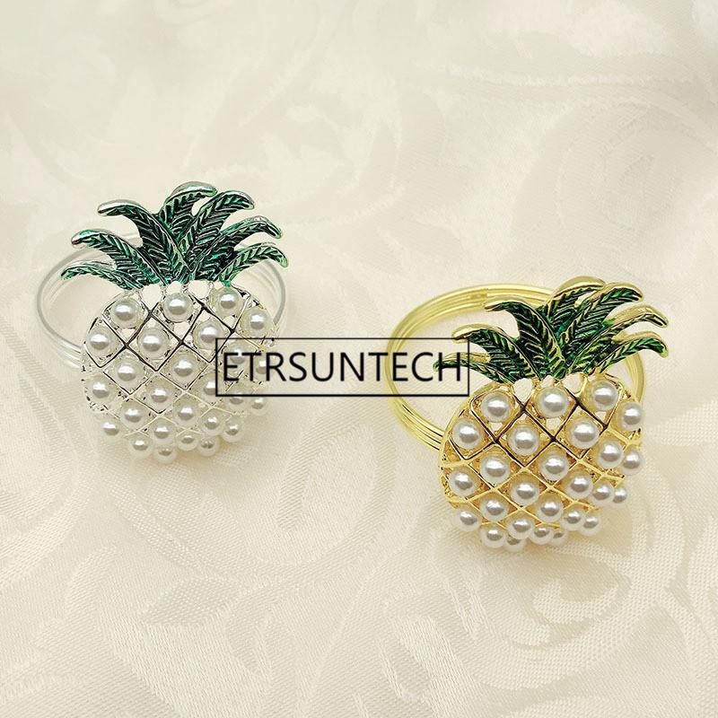 100pcs Gold Silver Pineapple With Pearls Napkin Ring Wedding Holiday Party Table Decoration Napkin Holder