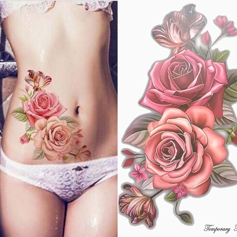 Maquillage Faux Tatouages Temporaires Autocollants Fleurs Rose Bras Épaule Tatouage Femmes Imperméables Big Beauté Tatouage Sur Le Corps