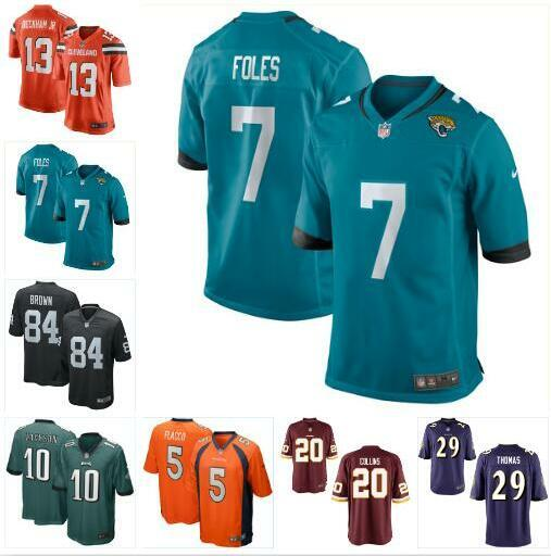 wholesale dealer d713f b7e4b 2019 Nick Foles Joe Flacco Jersey Eagles Raiders Odell Beckham Jr Antonio  Brown DeSean Jackson Landon Collins Custom Football Jerseys Shirts From ...