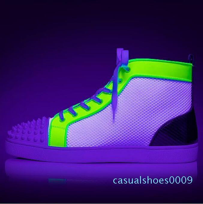 Tasarımcı Marka Çivili Dikenler Flats Kırmızı Bottoms ayakkabı lüks Womens Parti Aşıklar Gerçek Deri Sneakers boyutu 02 C09 ayakkabı