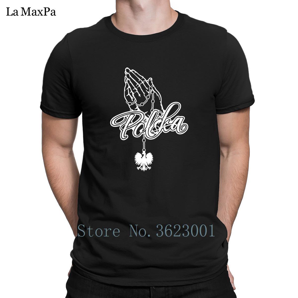 Divertido Casual Formal T camisa masculina rogación de las manos Polska básica de la camiseta para los hombres Gran Slim Fit Hombres camiseta de algodón Camiseta T-Top