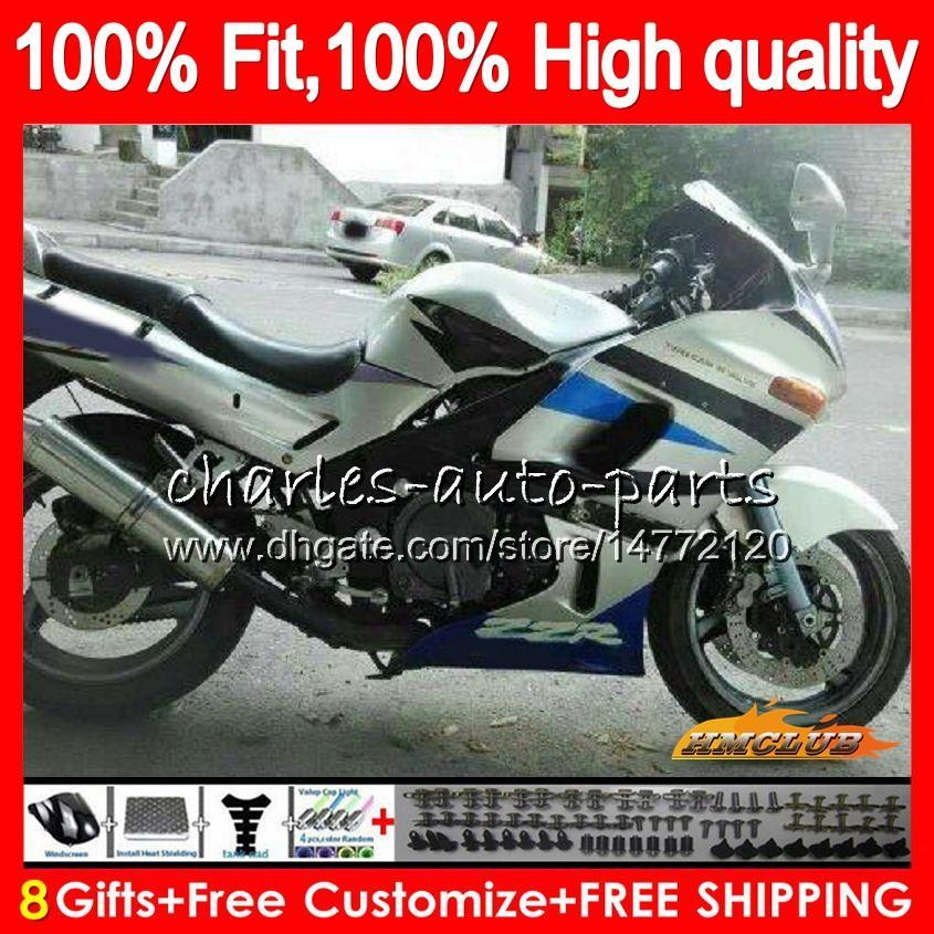 Para injecção Kawasaki ZZR 600 ZZR400 ZZR600 84HC.75 ZZR 600 400 93 94 95 96 97 ZZR400 1993 1994 1995 1996 1997 1998 carenagens prateadas azul