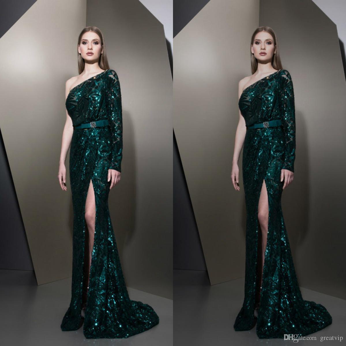 지아드 Nakad 2019 Atrovirens 인 어 이브닝 드레스 한 어깨 긴 소매 분할 오색 가운 더하기 맞춤형 파티 드레스