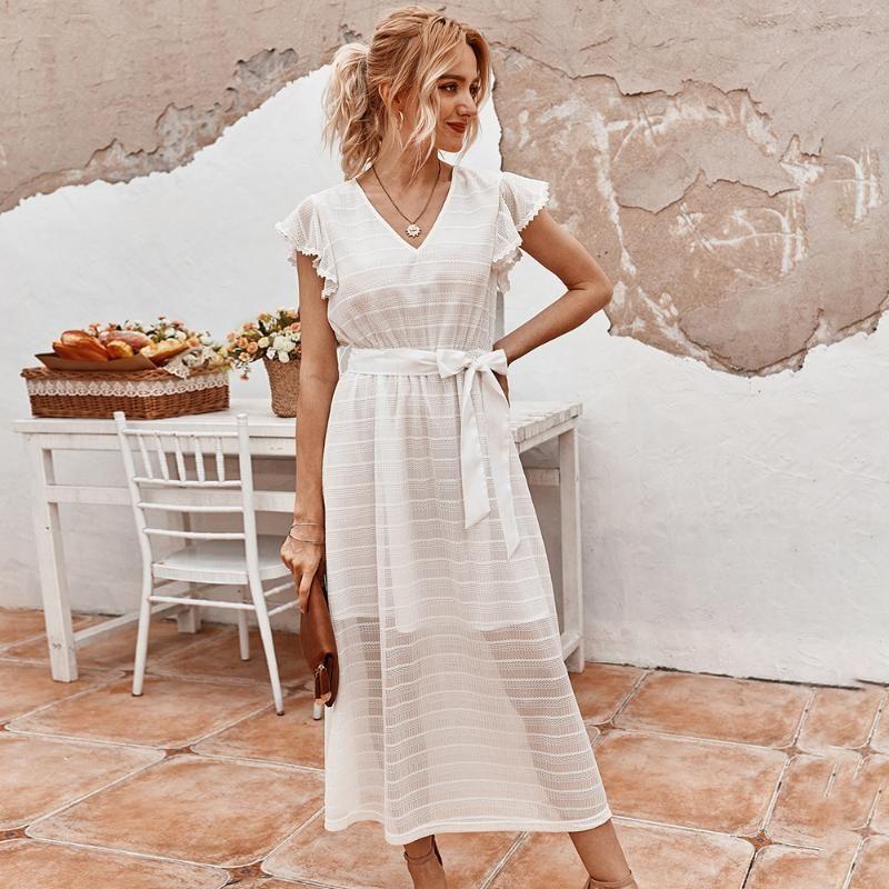 2020 New Vintage Summer Lace Dress Up femmes Volants V-cou solide taille haute noir blanc mi-mollet Robe