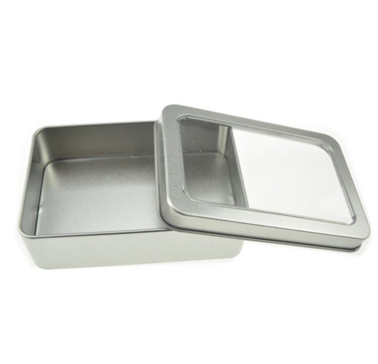 10.7 * 7 * 3 centímetros janela aberta Casos de armazenamento de metal, caixas de lata de aço exibição embalagem lata pm