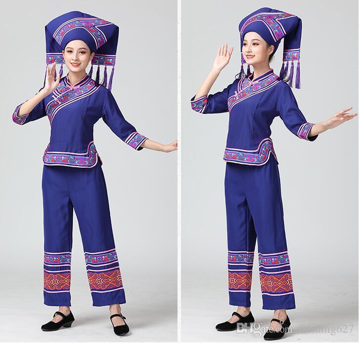 HuNan tujia miao Outfit Hat + Jacket + Pants Guangxi zhuang Garment minority dance dress Lady Enthnic Vacation party costume