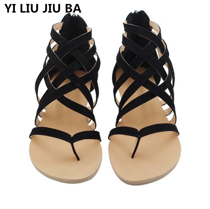 new Women Sandals Fashion Gladiator Sandals For Ladies Summer Shoes Female Flat Rome Style Cross Tied Shoes Women **285