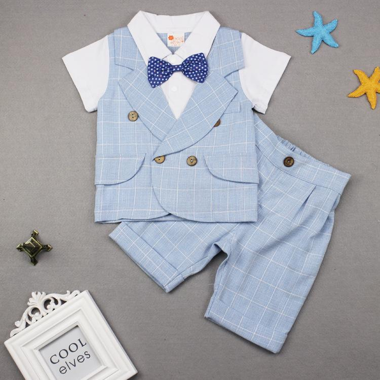 Kids Suits Boys Summer Plaid Gentleman Bow Two-piece Letter Print 2019 Top Girl Fashion Casual Shirts Pants Outfits