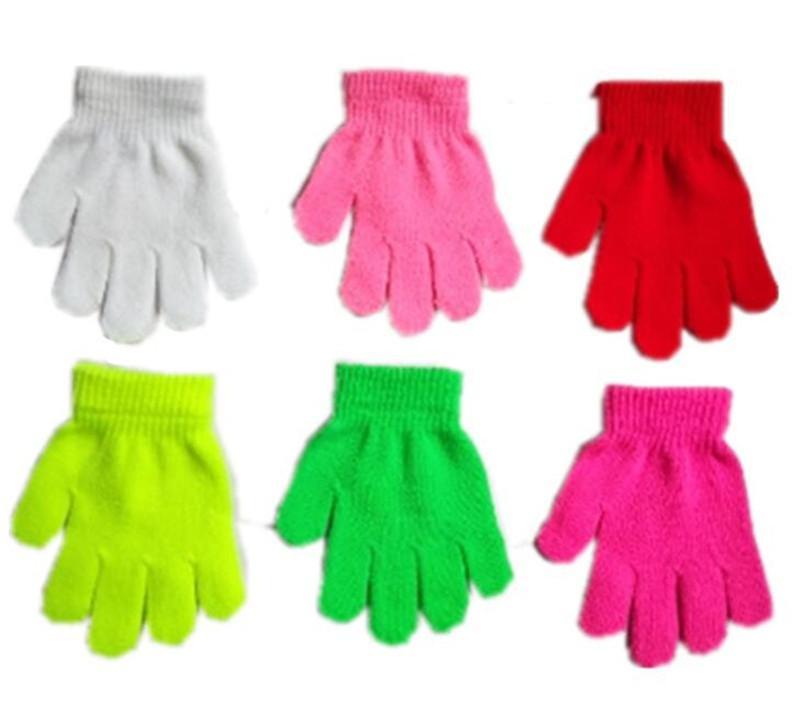 Дети вязаные перчатки детские волшебные зима теплая перчатка 18 конфеты цвета варежки Biys девочек вязание перчатки студенты открытый перчатки