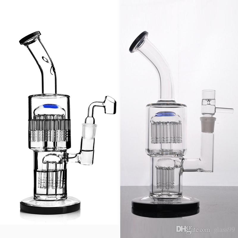 toro recycler bubbler glass bongs with diffuse double arm tree perc water pipe dab rig with 18 mm joint