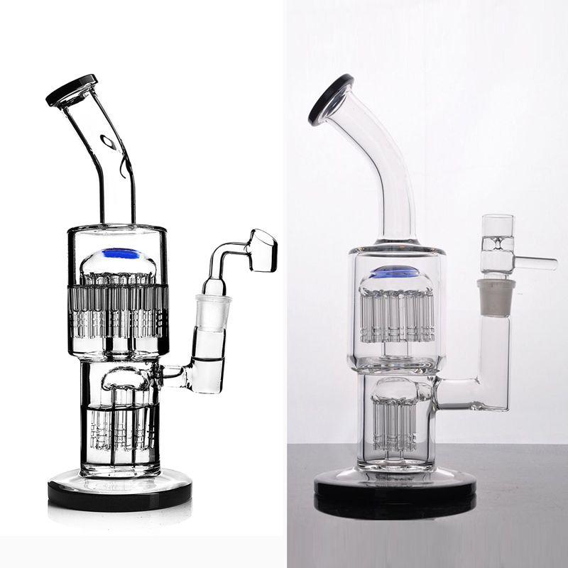 toro bongs reciclador bubbler vidro com difusa árvore braço duplo perc tubulação de água dab equipamento com 18 milímetros conjunta