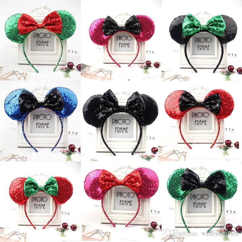 Halloween and Christmas Decorations Very Good Quality Sequins Headbands Lovely Big Bow Headband for Kids Adults Party Hair Jewelry 53 Styles