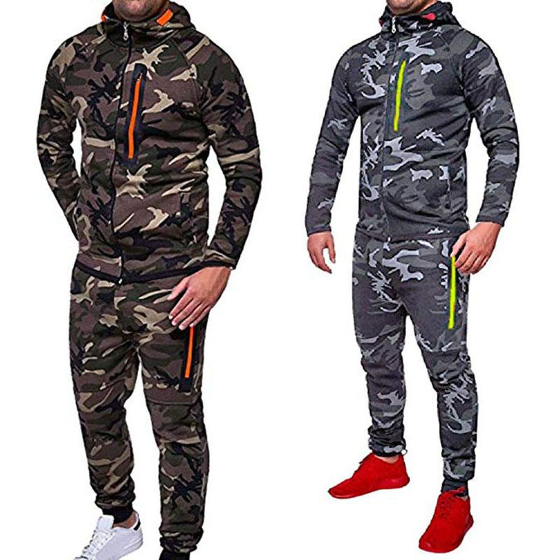 Los hombres del otoño invierno snowboard camuflaje Top Pantalones Delgado Deportes Traje del chándal de sudaderas con capucha camuflaje Traje de manga larga con capucha