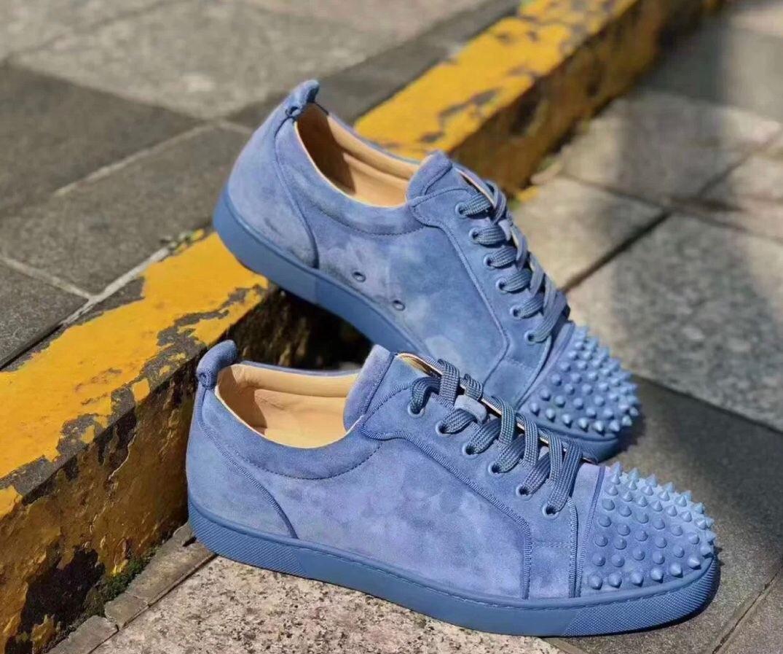 Luxuriöse-Marke Originals Sky Blue Spikes Männer Low Top Turnschuhe, Party Wedding Dress Red Bottom Sneaker Outdoor Sports EU35-47