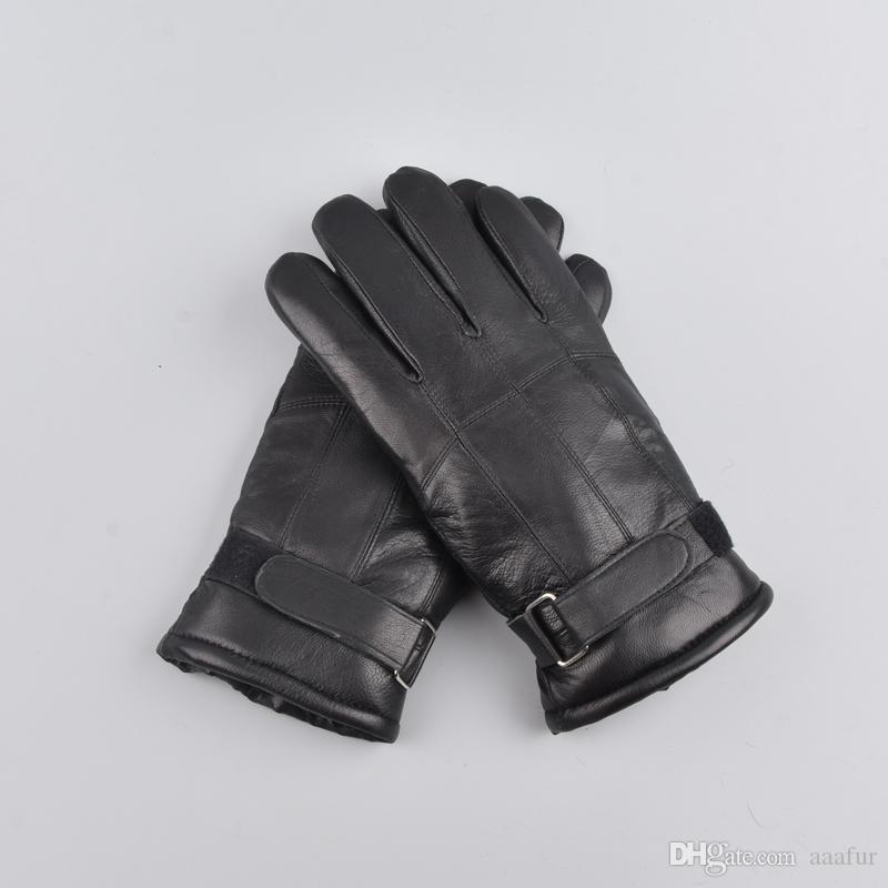 men winter Outdoor warm fur thickening thermal patchworkMen sheepskin gloves genuine leather glove gloves