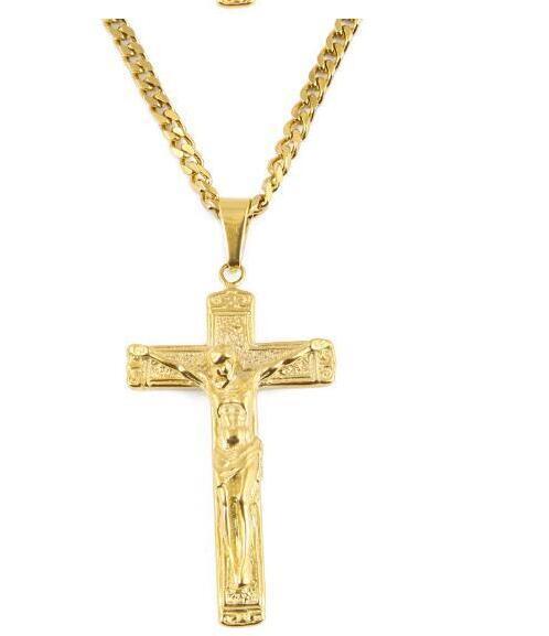 Novos homens chegada hiphop venda quente Cruz natal Colar de aço inoxidável Pingente de 6 centímetros * 3,8 centímetros com 70 centímetros * jóias 5 milímetros cadeia colar de pingente