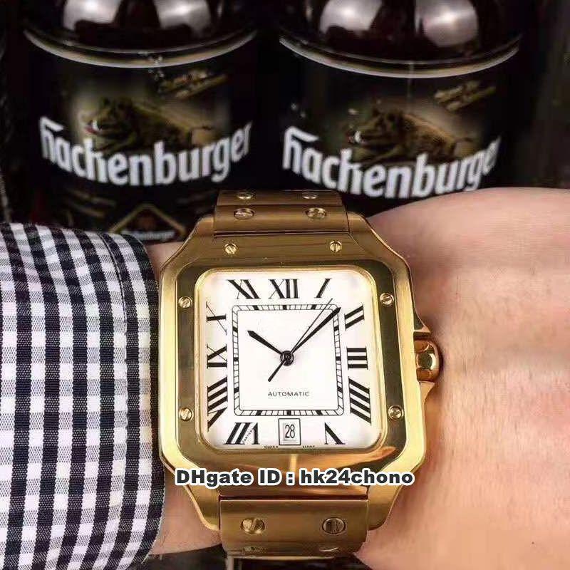 4 Estilo Mejor 18k Oro Amarillo Gran MIYOTA 8215 Autoamtic Mens Reloj Dial blanco 18K Pulsera de oro amarillo Gents Relojes CA2D