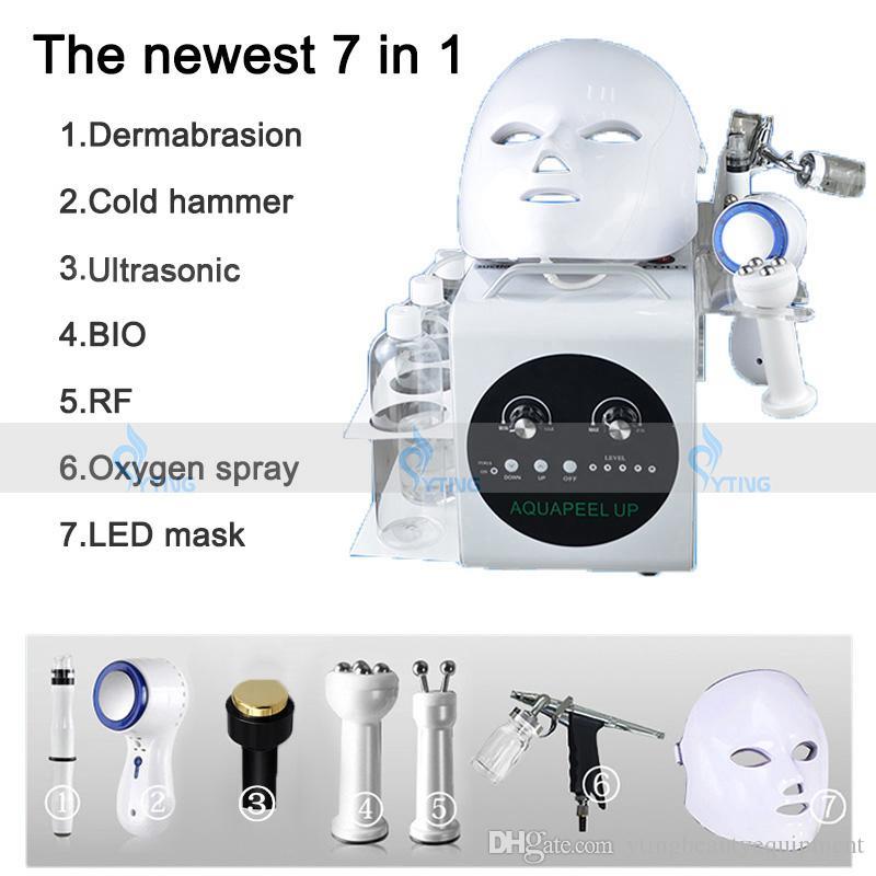 Taşınabilir 7 1 Hydrafacial Su Peel Mikrodermabrazyon Hidro Dermabrazyon Yüz Microcurrent Yüz Germe Ultrasonik Cilt Bakımı Makinesinde