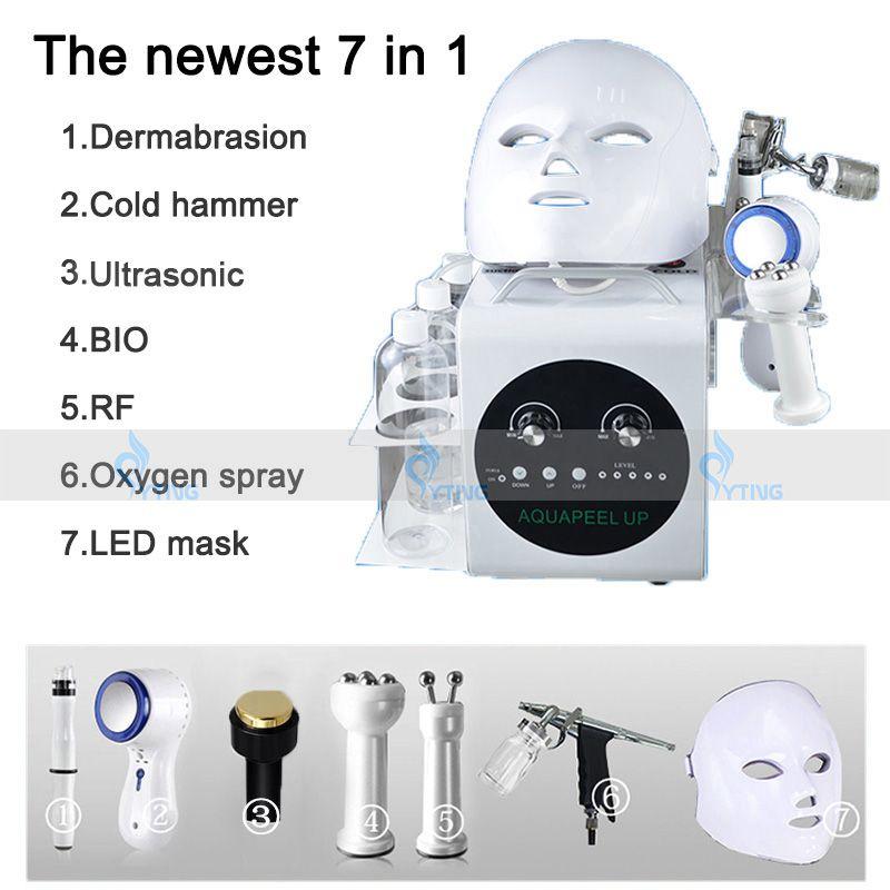 المحمولة 7 في 1 hydrafacial المياه قشر microdermabrasion هيدرو الجلدي الوجه microlocurrent الوجه رفع آلة الجلد بالموجات فوق الصوتية